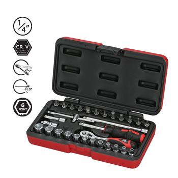 Hộp đầu khẩu và cần vặn AOK 30 chi tiết 1/4inch SGSK2-30